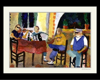 MUSICIANS, Watercolor Art PRINT of Musicians, Home Decor Art Print, Musicians in Cafe, Violins and  Accordion Music, Greek Island Musicians