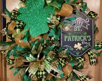 Deco Mesh St Patrick Front Door Wreath with Sign Shamrock and Bow
