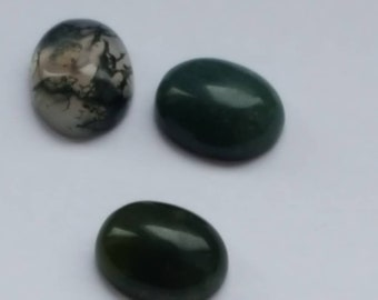 10x8mm Green Moss Agate Gemstone Cabochon 3 pieces