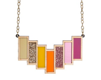 Tequila Sunrise necklace - laser cut acrylic and wood