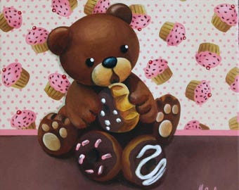 Acrylic painting on canvas: delicious bear (bear and pastries)