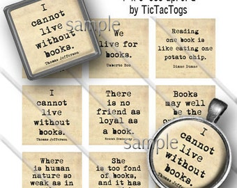 Book Quotes 1 Inch Squares or Bottle Cap Digital Art Collage Set A-Z Digi 4X6 - Instant Download