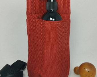 Massage therapy single 8oz lotion bottle hip holster, orange tapestry woven fabric, black belt