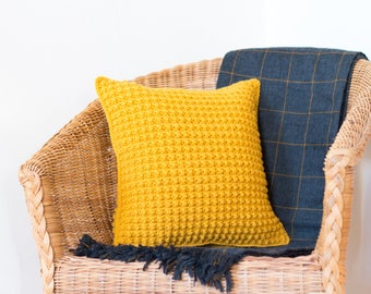 Mustard Yellow Pillow Cover, Yellow Pillow, Mustard Pillow, Mustard Yellow Cushion, Throw Pillow, Crochet Cushion, Cushion Cover