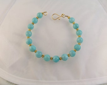 "Amazonite bracelet gold filled with vermeil 7 3/4"" MLMR gemstone handmade item 771"