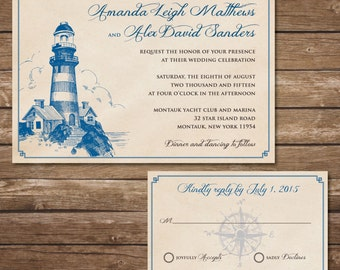 Printable Lighthouse Wedding Invitation with RSVP Card - Digital File