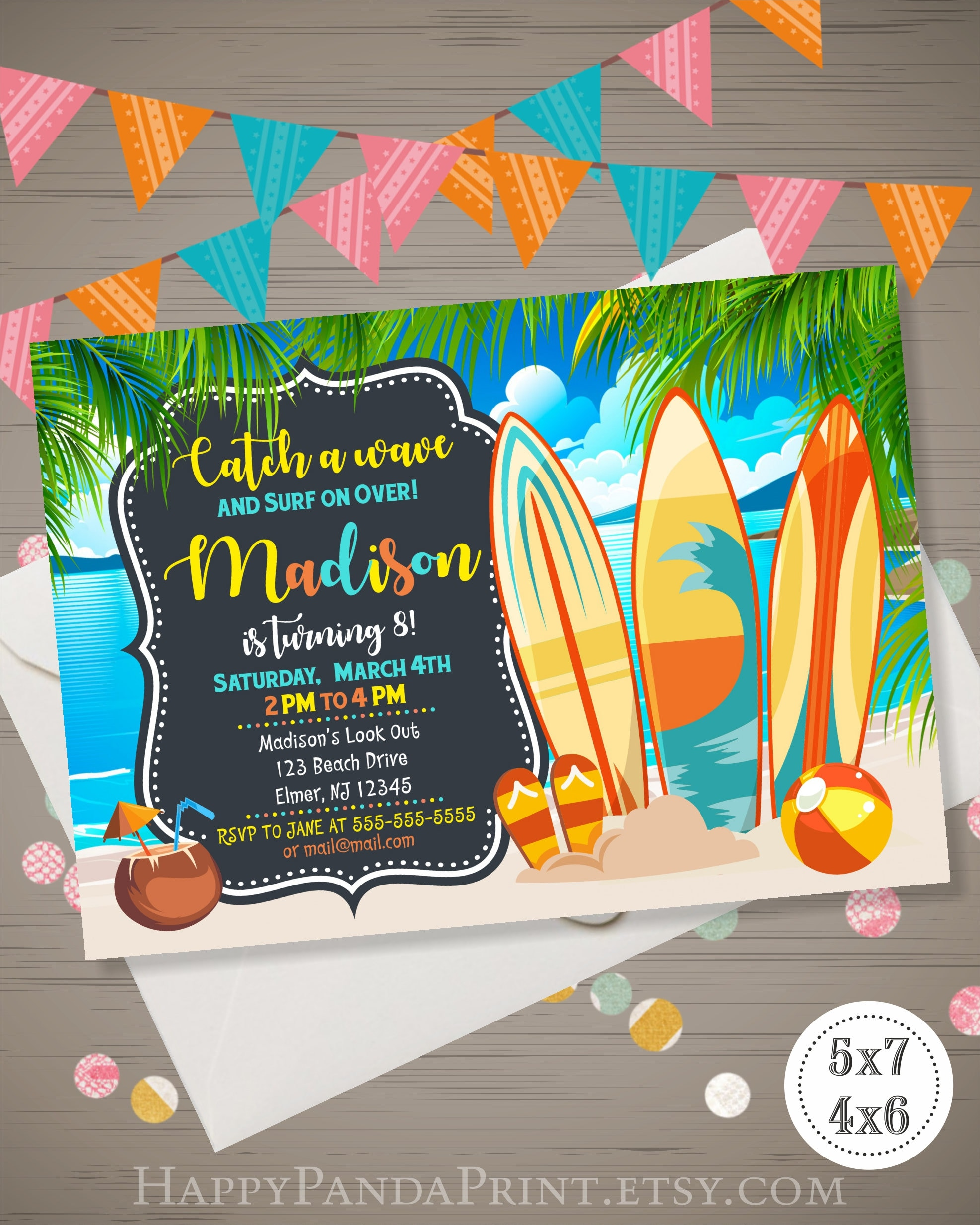 Beach party invitation surfboard birthday invitation tropical description surfing birthday party invitation monicamarmolfo Images