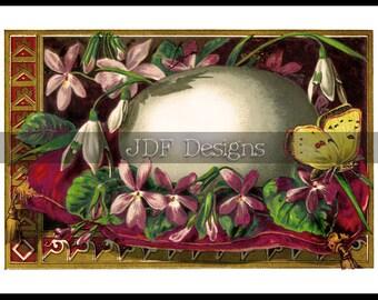 Instant Digital Download, Antique Vintage Graphic, Floral Easter Egg Postcard, Place Card, Printable Image Scrapbook, Butterfly, Spring, Tag