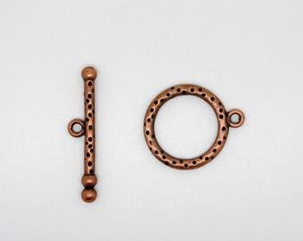 Copper colored metal Toggle clasp