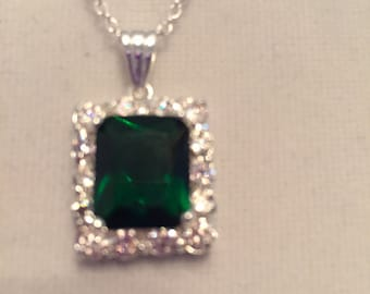 Green sapphire etsy emerald green sapphire rectangular gemstone necklace in silver crystal settubg aloadofball Image collections