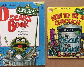 Vintage 1976 Sesame Street Oscar The Grouch Books Hardcover, Little Golden Book, A Tell-A-Tale-Book, Muppets