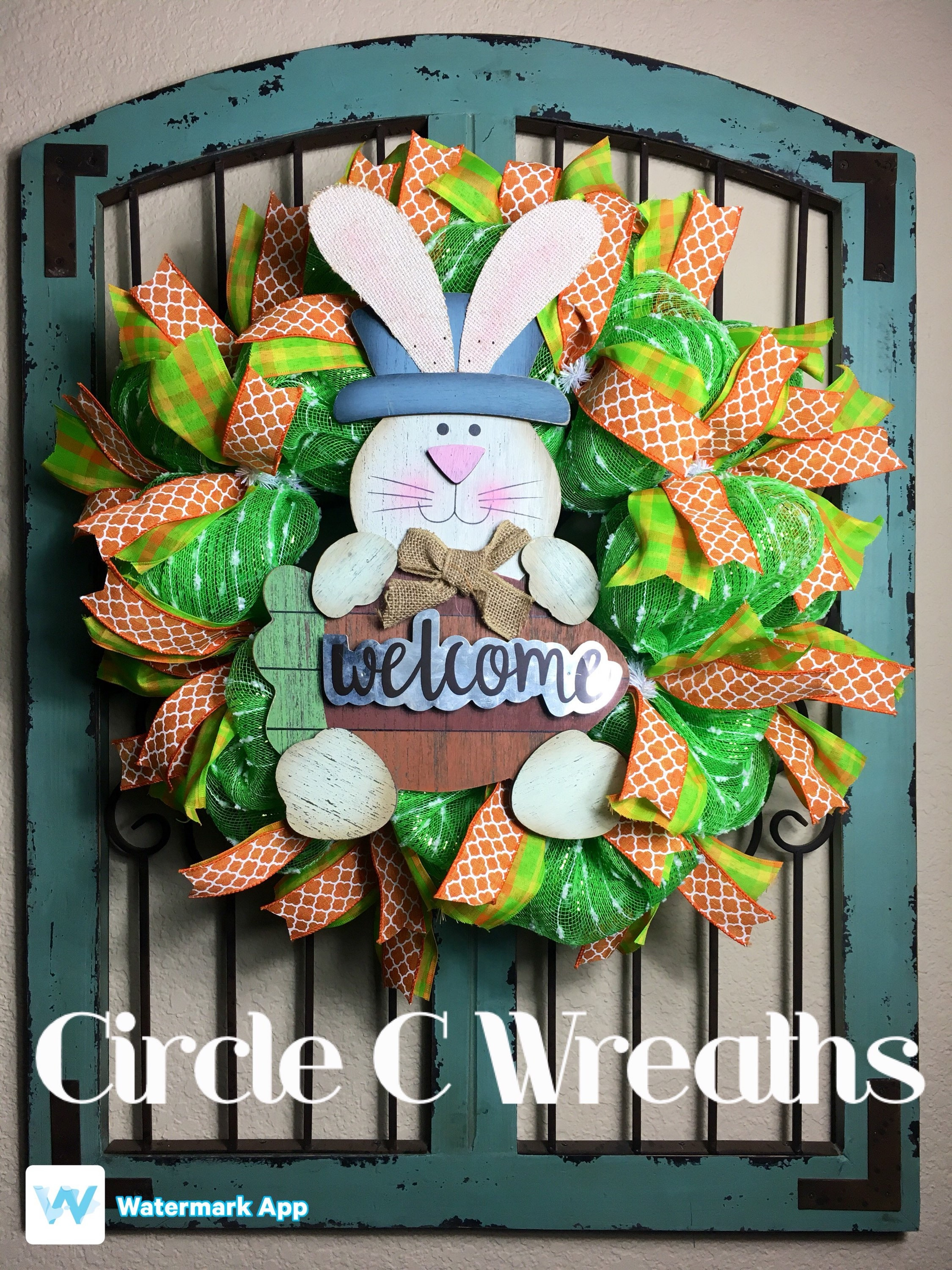 Happy Easter Front Door Wreath, Easter Front Door Wreath, Welcome ...