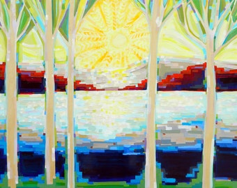 Sunlit Forest no. 6 (48x36) on Wood Panel by artist Kristi Taylor