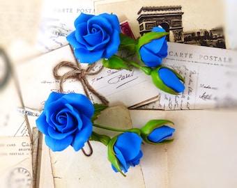 Blue flower earrings Rose earrings Prom earrings royal blue Unique earrings Cute earrings Bridesmaid proposal Bridesmaid rose earring