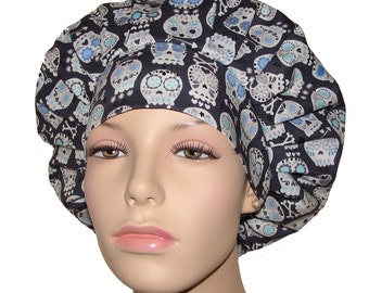 Bonehead Skulls Dark Charcoal-ScrubHeads-Scrub Hat-Scrub Cap-Bouffant Scrub Hat-Surgical Scrub Hat-Women's Scrub Hat-Skulls Scrub Hat