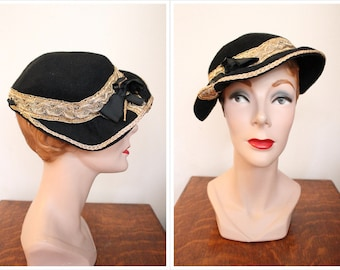 1930s Hat // Ginger Rose Golden Wool Hat // vintage 30s hat
