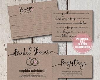 Shower recipe poem etsy bridal shower invitation printable suite rustic wedding shower invite set brown paper shower activity filmwisefo