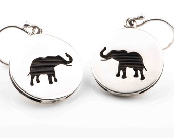 Sterling Silver Handmade Earrings with Leather or Artificial Elephant hair