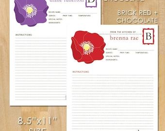 50 Poppy Recipe Cards, 8.5x11, Personalized