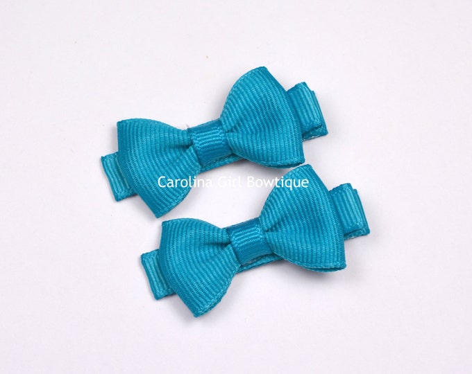 Turquoise Hair Bow Set of 2 Small Hairbows - Girls Hair Bows - Clippies - Baby Hair Bows ~ No Slip Grip always added