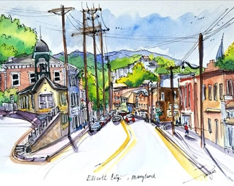 """Original Ink and watercolor 9""""x12"""" painting from Ellicott City, Maryland. Main street, small and beautiful town. View from Fire Station"""