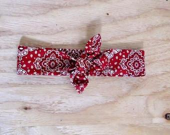Bandana Tie headband, red, bandana knot, western, red headband, hair wrap, vintage hair accessories, retro headband, hair tie