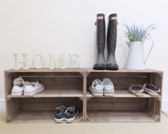 2 x Shabby Chic Handmade Wooden Apple Crate Shoe Rack, Rustic, Vintage, Style Shoe or Display Shelf
