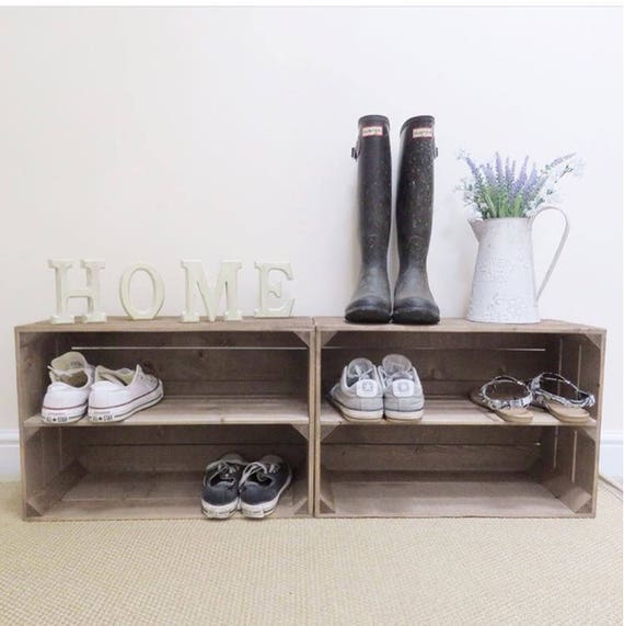 2 x shabby chic handmade wooden apple crate shoe rack rustic rh etsy com shabby chic vintage shoe rack shabby chic shoe and coat rack