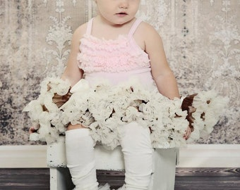 Little Bunny Couture - Sweet Antique Cream Lace Ruffled Tutu Leg Warmers - perfect 4 crawling baby but will fit girls of all ages