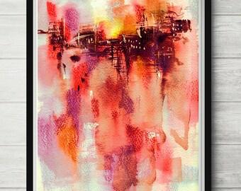 Red watercolor, abstract print, minimalist art, red poster, abstract art, red decor, red wall decor, office decor, wall art print