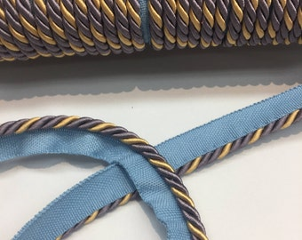 Lavendery Blue with Yellow Cord Trim with Lip Upholstery 5 yard 10 yard 25 yard 50 yards