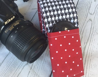 READY TO SHIP-Alabama elephant houndstooth camera strap cover- Crimson and houndstooth- graduate gift- monogrammed
