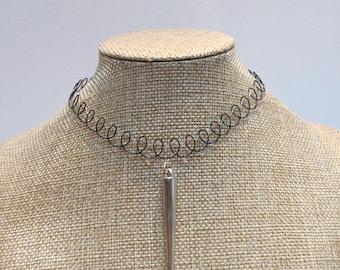 Gothic black transparent tattoo necklace jewelry