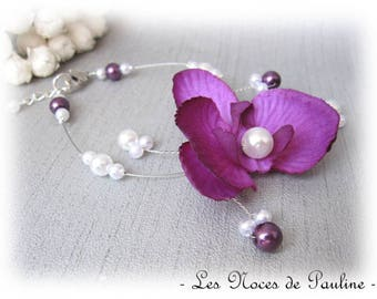 Purple and white wedding Orchid Butterfly Esther bracelet