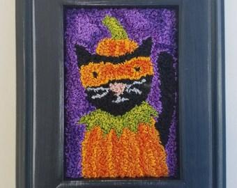 halloween...original punch needle...costume pumpkin cat