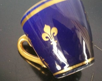 Cobalt Blue And Gold  Fleur The Lis Demi Tasse Cup Unmarked