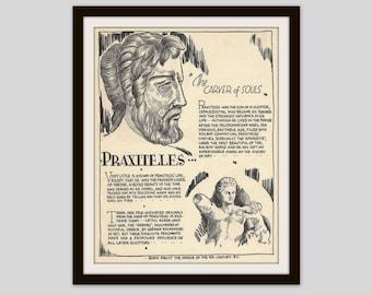 Praxiteles, Vintage Art Print, Art Teacher Gift, Classroom Art, Artist Gift, Art History, Art Student Gift, Sculptor, Ancient Greek Art