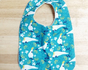 bib baby toddler gift cockatoo newborn / eco friendly / organic cotton bamboo / baby shower gift / Australian bird teal green
