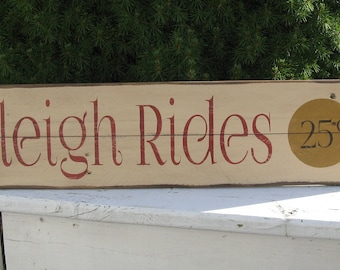 Sleigh Rides 25c ~ Holiday, Christmas, Winter, Upcycled, Recycled, Farmhouse, Cottage,  Rustic, Country, Primitive, Wood Pallet Sign