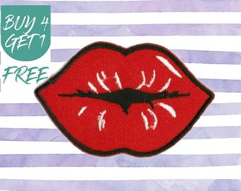 Lip Patches Kiss Patches Iron On Patch Embroidered Patch Hot Lips Smooch