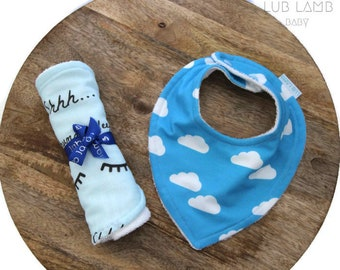 Bib and burp cloth gift set, Sweet dreams baby gift, Blue clouds theme baby gift