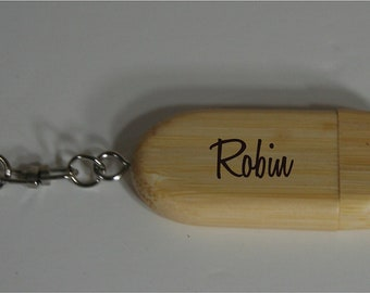 USB Drives - Personalized  Rounded Bamboo 4 GB USB Flash Drive - Great for Vacation Photos and Videos - A Memory Keepsake