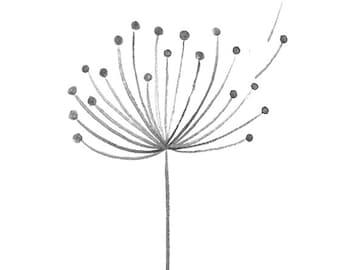 Make a wish Dandelion wall art. Monochrome and teal nursery print