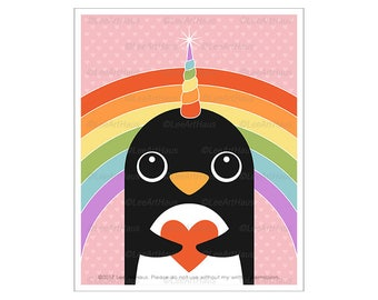 138A Rainbow Art Prints - Penguin Unicorn Wall Art - Rainbow Print - Penguin Decor - Girls Room Wall Art - Rainbow Decor - Unicorn Prints
