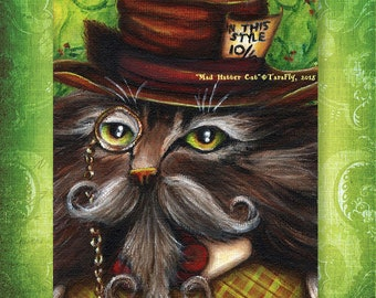 Mad Hatter Cat, Alice in Wonderland Fantasy Cat Art Print 5x7