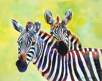 Zebra Black and White Wildlife Painting Original Watercolor Impressionist Animal Wall Art Unique Gift By Kim Stenberg