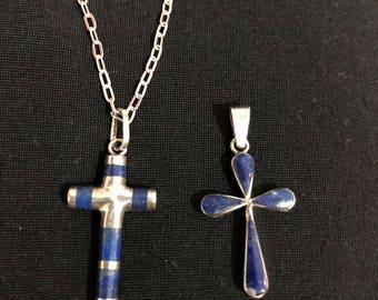 Silver and Lapis Lazuli Crosses