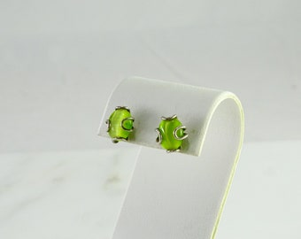 Electric Green Stud Pierced Earrings Sterling