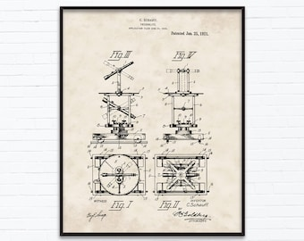Theodolite Patent Drawings - January Birthday Gift Ideas - Printable Posters of 4 Styles, INSTANT DOWNLOAD - 01/25/1921