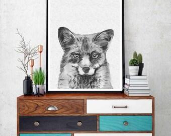 Fox Print, Woodlands Nursery, Wilderness Fox Wall Art, Animal Print,  Printable Art, Black and White Nursery Decor, Printable Art